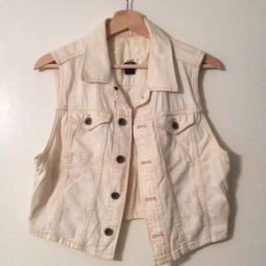 Madewell cream jean vest